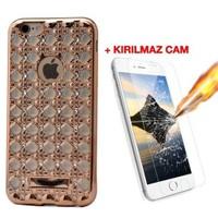 Teleplus İphone 6S Plus Taşlı Desenli Silikon Kılıf Gold + Cam Ekran Koruyucu