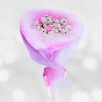 Sevgiliye Romantik Hediye Pembe Ayıcık Buketi