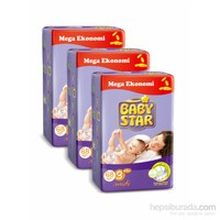 Baby Star Bebek Bezi Jumbo 3'lü Paket 3 Beden 204 Adet