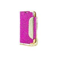 Teleplus Samsung Galaxy S4 Taşlı Kılıf Pullu Zincirli Cüzdanlı Fuşya Renk