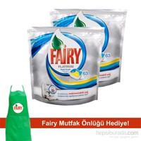 Fairy Platinum Bulaşık Makinesi Deterjanı Kapsülü Limon 63 Yıkama 2'li Paket (Önlük Hediyeli)