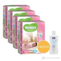 Huggies Kızım İçin Bebek Bezi Jumbo 4'lü Paket 3 Beden 216 Adet + Chicco Baby Şampuan