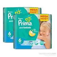 Prima Bebek Bezi Aktif Bebek Mega 2'li Paket 6 Beden 64 Adet