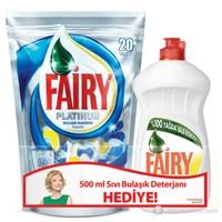 Fairy Platinum Bulaşık Makinesi Kapsülü 20 Yıkama (Fairy Sıvı 500 ml Hediyeli)