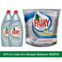 Fairy Platinum Bulaşık Makinesi Deterjanı Kapsülü Limon 63 Yıkama + 2 adet Fairy Platinum Sıvı Bulaşık Deterjanı Limon 870 ml