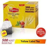 Lipton Yellow Label Siyah Poşet Çay 500 'lü- Fişek Şeker 500 adet Hediyeli !