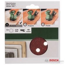 Bosch - Eksantirik Zımpara Kağıdı 5'Li, 125 Mm 40 Kum 8 Delik