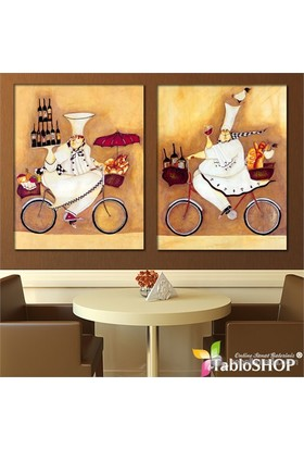 Tabloshop - Et Les Cuisiniers 2 Parçalı Kanvas Tablo - 83X55cm
