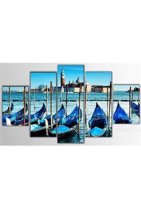Tictac 5 Parça Kanvas Tablo - Venedik Gondolları - 100X60 Cm