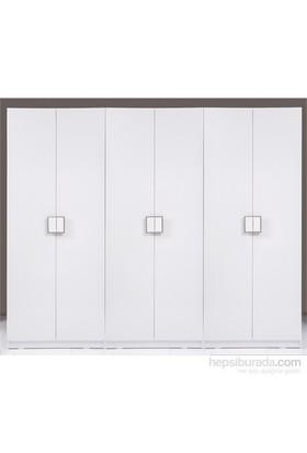 Hepsiburada Home Stella Raflı&Askılıklı&Üç Çekmeceli Altı Kapılı Sonsuz Gardırop Parlak Beyaz