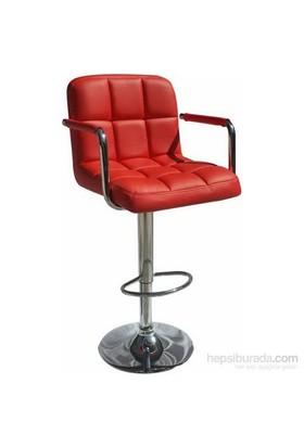 Bürocci Carla Bar Taburesi Kırmızı Deri 9503Q0116