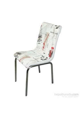 Mavi Mobilya Sandalye Dünya Desen Suni Deri (4 Adet)