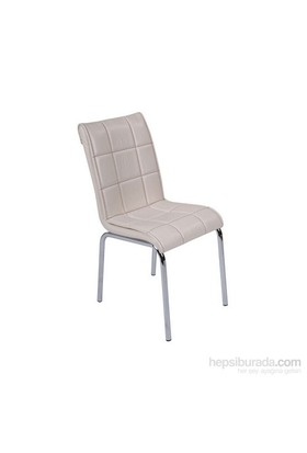 Sandalye Krem Suni Deri (4 Adet)