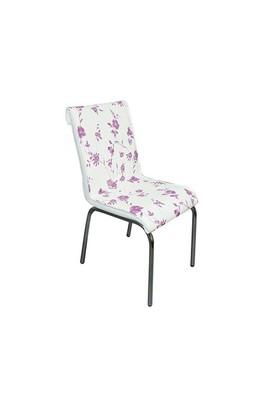 Mavi Mobilya Sandalye Lila Çiçek Suni Deri (6 Adet)