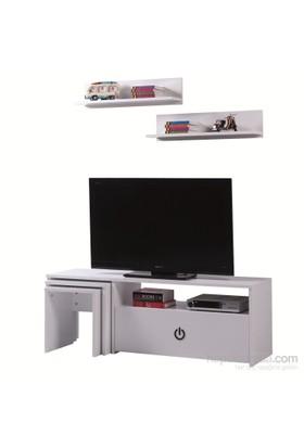 Carla Home Power Raflı Zigonlu Beyaz Tv Ünitesi
