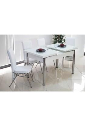 İndirimzade Mutfak Masa Takımı Yemek Masası Açılır Masa -Beyaz