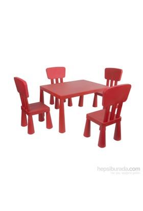 Hepsiburada Home Mini Çocuk Masa-Sandalye Seti - Kırmızı
