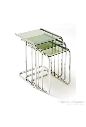 Ku_Cam Temper Glass Zigon Sehpa Cam L Krom Ayaklı 8mm