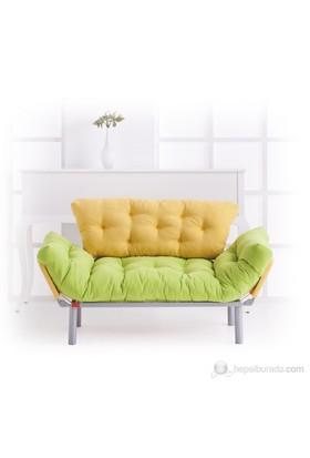 Futon Ege İkili Kanepe ( Yeşil -Sarı )