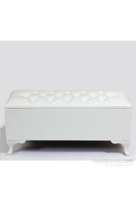 Ellnaz Deri Sandıklı Puf Beyaz