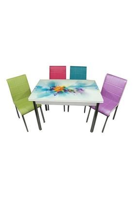 Mavi Mobilya Mutfak Cam Masa Takımı Yandan Açılır Turkuaz Çiçek Desen (6 Suni Deri Sandalyeli)