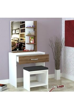 Dekorister Olivia Makyaj Masası Beyaz-Ceviz