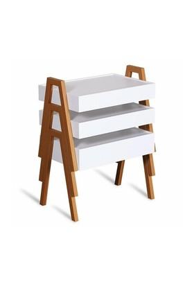 Binbir Marka Newport 3'Lü Zigon Sehpa Beyaz