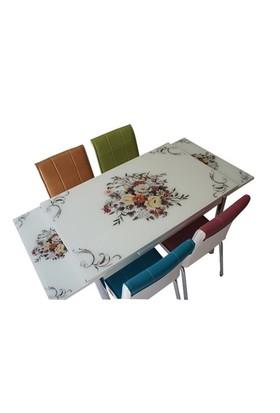Mavi Mobilya Mutfak Cam Masa Takımı Yandan Açılır Çiçek Demeti Desen (6 Suni Deri Sandalyeli)