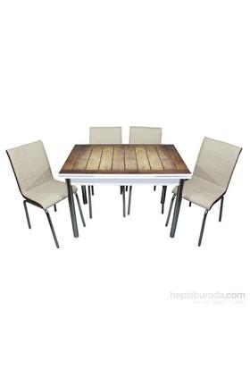 Mavi Mobilya Mutfak Cam Masa Takımı Yandan Açılır Ağaç Desen (6 Suni Deri Sandalyeli)