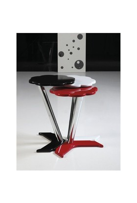 Papatya Zigon Sehpa Beyaz Kırmızı Siyah