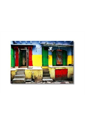 Tictac Renkli Binalar Kanvas Tablo - 50X75 Cm
