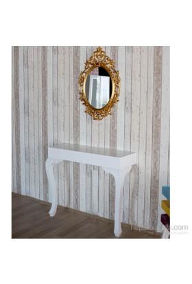 Te Home Lande Dresuar+Ayna Takımı Beyaz-Altın