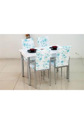 İndirimzade Mutfak Masa Takımı Yemek Masası Masa Sandalye - Turkuaz Çiçek