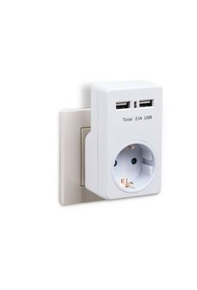 eye-Q EQ-UA1W 2 USB'li Priz (2 x 1000mA or 1 x 2.1 A )