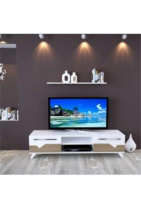 Eyibil Mobilya Aleyna 160 cm Gövde Beyaz Kapak Meşe-Beyaz Tv Sehpası Tv Ünitesi Duvar Raflı
