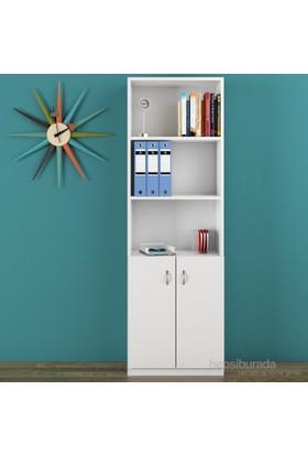 Eyibil Mobilya Poyraz 5 Raflı Kapaklı Kitaplık Parlak Beyaz ( Derinlik 28 Cm )