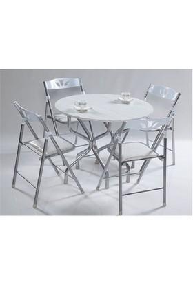 Vural Ahşap Katlanır Kırma Masa Sandalye Takımı-Yuvarlak Beyaz