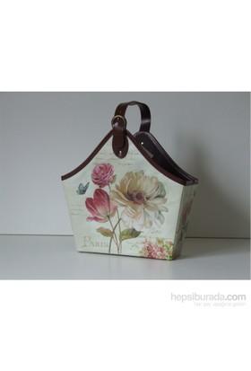 Giz Home Gazetelik Tek Saplı 33 x 42 x 42 Beyaz Çiçekli Kelebekli