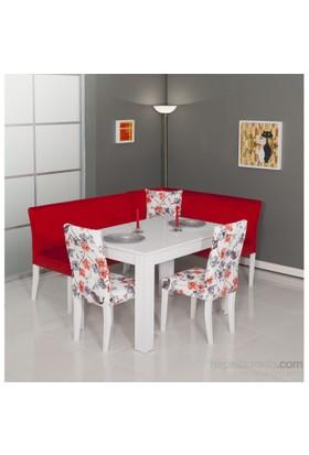 Moda Life Mobetto Nilüfer Mutfak Köşe Takımı Kırmızı (Köşe+Masa+2 Adet Sandalye)