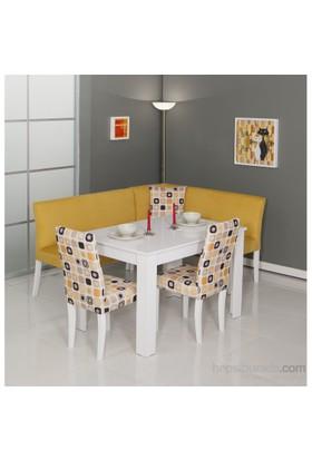 Moda Life Mobetto Nilüfer Mutfak Köşe Takımı Sarı (Köşe+Masa+2 Adet Sandalye)