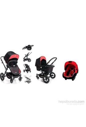 Ferrari 4 Lü Travel Set - Nero ( Beebop Çift Yönlü Bebek Arabası + 0-13 Kg Ana Kucağı + Port Bebe + Kanguru)
