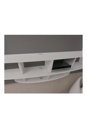 Sanal Mobilya Elips Tv Duvar Ünitesi Ve Kitaplık - Parlak Beyaz / Siyah