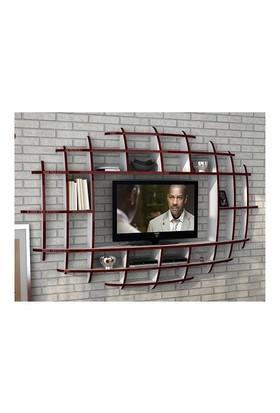 Sanal Mobilya Elips Tv Duvar Ünitesi Ve Kitaplık - Parlak Beyaz / Bordo