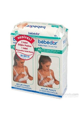 Bebedor 2 Li Göğüs Pedi 80 Adet - Pamuklu Islak Mendil Hediyeli