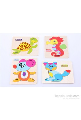 Learning Toys 4'lü Animal Puzzle Diagram Paketi