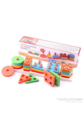 Wooden Toys Colorful Geometric Five Set of Columns