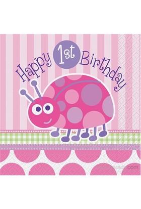 Balon First Birthday Ladybug Peçete 33X33 Cm