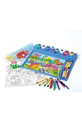 Playgo Hobi Set Boyama Hazır Baskı Kağıtlı Boyalı