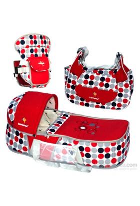 Bebesi Safir Üçlü Set (Portbebe + Çanta + Kanguru) - Kırmızı
