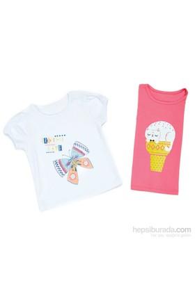 Wonder Kids Fusya Kedi Desenli Tshirt